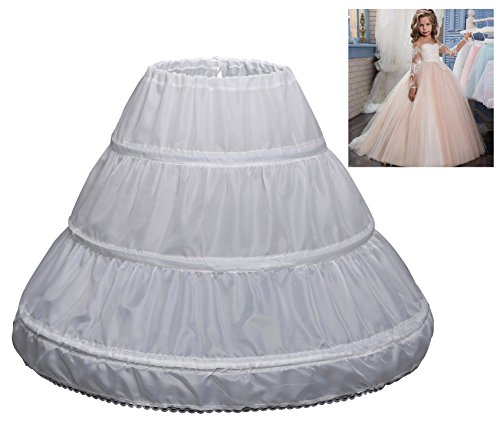 KSDN Girls 3 Hoops Flower Ball Gown Petticoat Long Slip Underskirt Crinoline White 21.5
