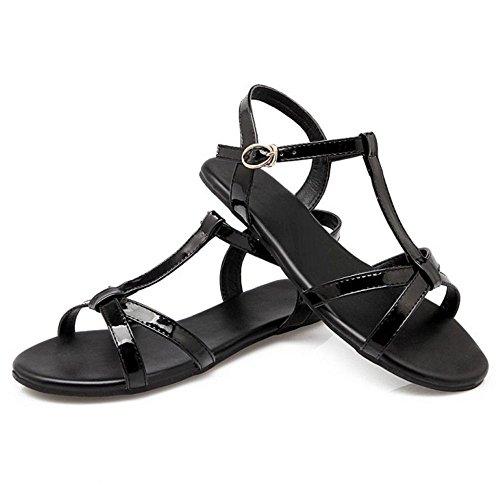 Negro Al Mujer Planas Verano Sandalias Comfort Razamaza Tobillo HCq700