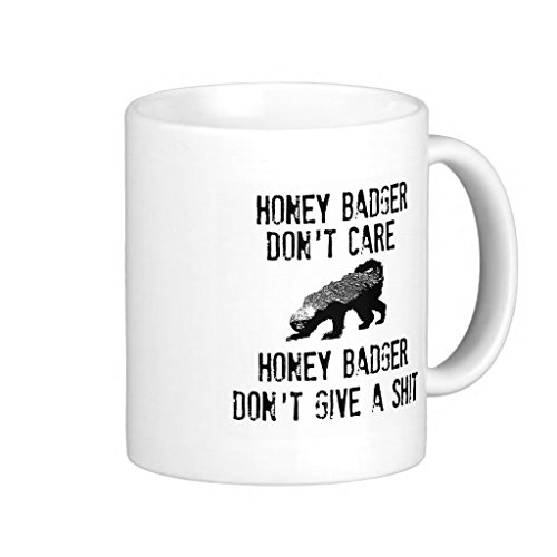 [Honey Badger Dont Care White Classic Coffee Mug 11 Oz] (Badger White Liner)