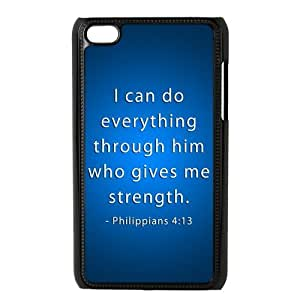 Danny Store Protective Hard PC Cover Case for iPod Touch 4, 4G (4th Generation), Bible Verse Philippians 4:13