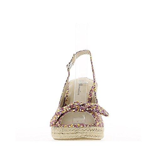 Sandalias de cuña rosa con motivos de tacón 9,5 cm y bandeja con nodo