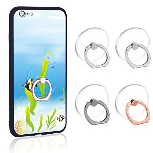 Choice Stack Ring - Phone Ring Transparent Cell Phone Ring Holder 360 Degree Rotation 180 Degree Flip Phone Ring Grip Finger Ring Stand Kickstand Compatible Various Mobile Phones or Phone Cases (Transparent)