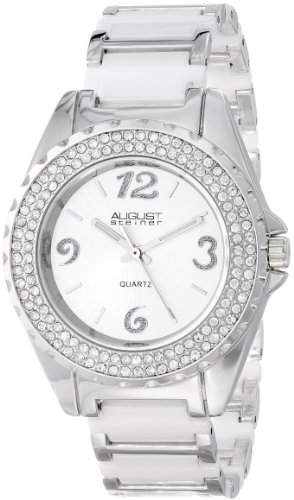 August Steiner Women's AS8036WT Quartz Crystal Ceramic Bracelet Watch