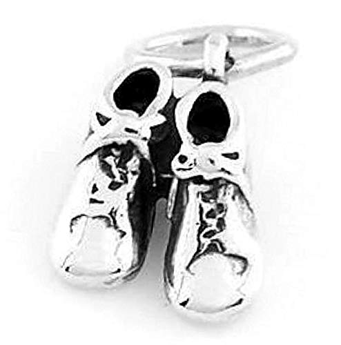 925 Sterling Silver Baby Booties/Shoes Charm/Pendant Vintage Crafting Pendant Jewelry Making Supplies - DIY for Necklace Bracelet Accessories by CharmingSS