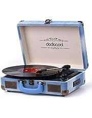 dodocool Tocadiscos Bluetooth de Estilo Vintage, Giradiscos de Tres Velocidades con Altavoces Estéreo, Salida RCA, Conector para Auriculares, Grabación por USB y Tarjetas SD, Azul