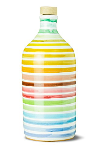 remium Italian Extra Virgin Olive Oil, Collectible Handmade Ceramic Bottle, RAINBOW (Arcobaleno), First Cold Pressed EVOO 16.9 Fl.oz (500 ml) (Olive Oil 500ml Bottle)