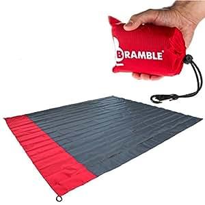 BRAMBLE! Manta portátil Impermeable para Picnic Cabe en tu Bolsillo – Incluye Bolsa para Viajar. - Rojo
