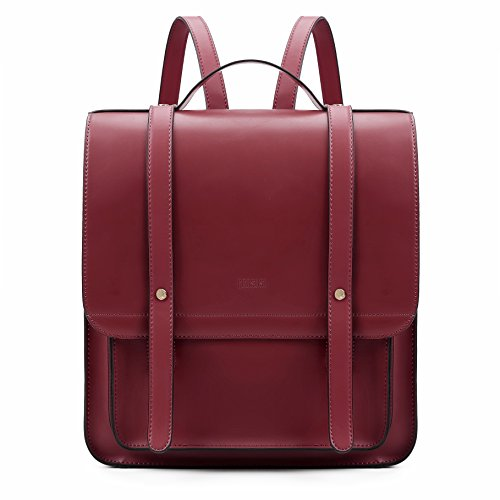 Satchel Leather Small Purse Soft School Wine Laptop with Red Backpack PU Rucksack Women ECOSUSI PXnqxv5P