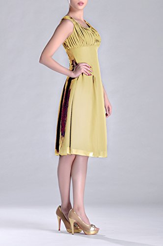 the Knee Bridesmaid Pleated Special Mother Length of Occasion Dress Formal Brides Daffodil qZwZ104