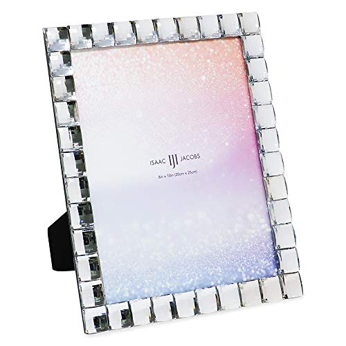 Isaac Jacobs Decorative Sparkling Jewel Picture Frame, Photo Display & Home Décor (8x10, Clear)