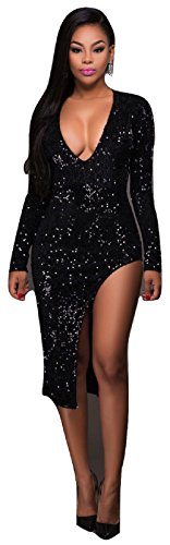Señoras negro Lentejuelas Sumir cuello Cut Away pierna Bodycon vestido Club Wear tamaño S UK 8 –�?0 EU 36 –�?8