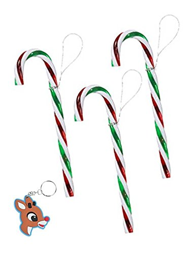 TOYCO Set of 12 Large Plastic Candy Cane Ornaments - Red,...