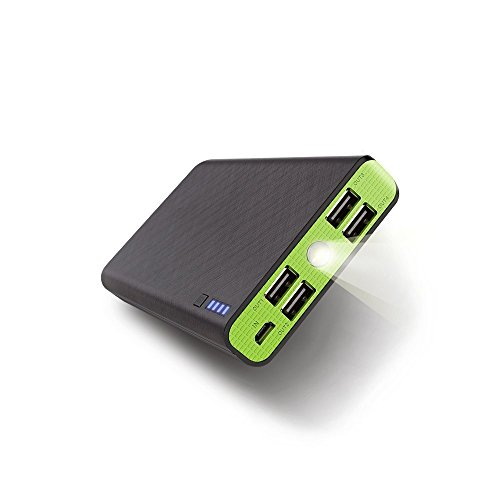 Fritesla 20000mah Power Bank 4USB Portable Charger for Smartphones (Green)