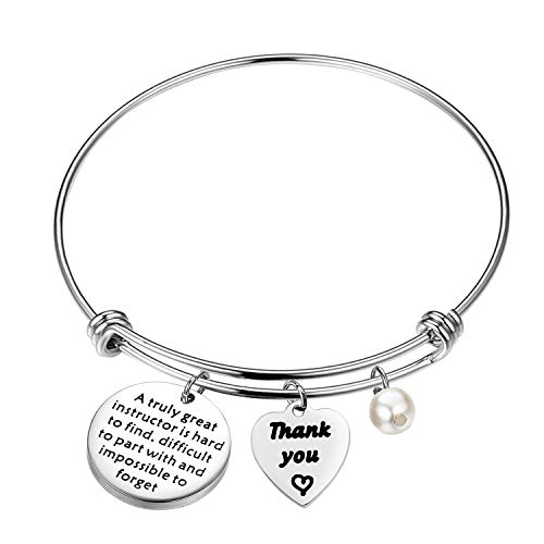 FUTOP Instructor Gift Instructor Appreciation Gift A Truly Great Instructor is Hard to Find Keychain Instructor Retirement Gift Thank You Gift for Professor, Mentor (Instructor Bracelet)
