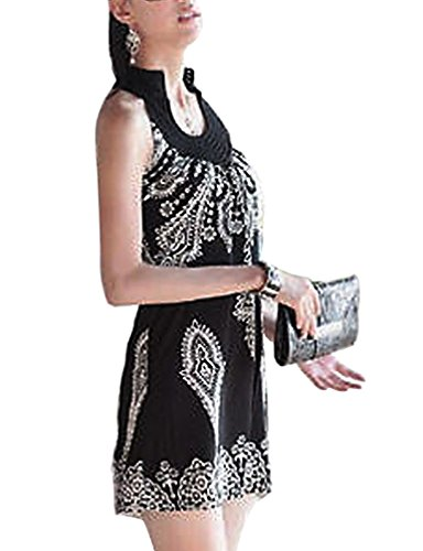 Totem Floral Mini Dress (Black) - 1