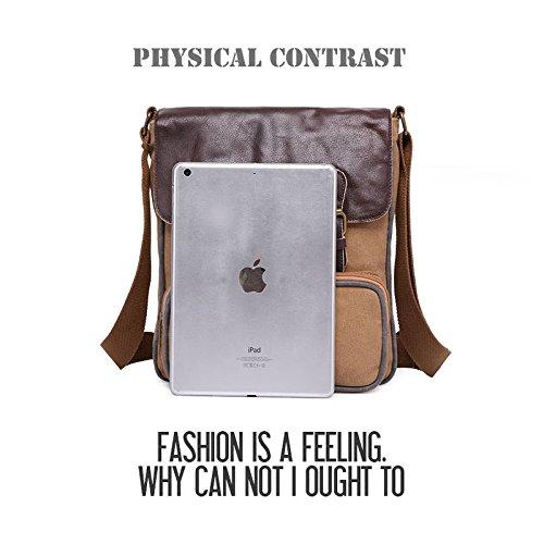 Casual Canvas Messenger Caqui Schoolbag Weekender Blue Men Bag Satchel Fashion Bag VRIKOO Shoulder Bag wSzqY