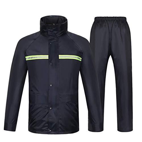 I will take action now Waterproof Suit Rain Jacket Result Heavyweight Waterproof Jacket/Trouser Suit Adult Windproof (Color : Navy - Hat, Size : XXXL)