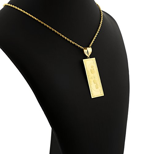 LoveBling 10K Yellow Gold Hundred Dollar Bill Diamond Cut Charm Pendant (2.60'' x 0.85'') by LOVEBLING (Image #3)