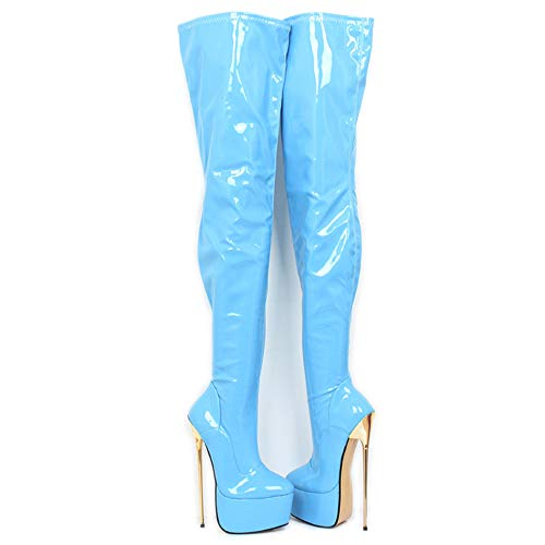 Sorbern Patent Mid Thigh High Women Boots Metal High Heels Custom Leg Length-Width-Color (8 M US, Sky Blue Patent)