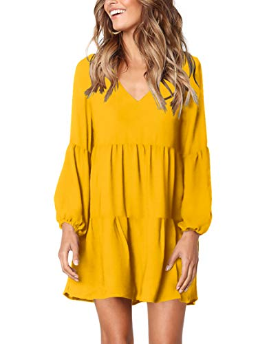 Tiered Dress Cover - Amoretu Women's Long Sleeve Tunic Dress V Neck Loose Swing Shift Dresses (Large, Yellow)