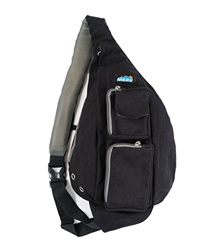Meru Sling Backpack Bag - Small Single Strap Crossbody Pack for Women and Men (Black) (Single Style Rope)