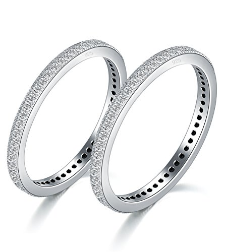 2MM 925 Sterling Silver Ring, Boruo Cubic Zirconia CZ Wedding Band Stackable Ring 2 Set Size 7