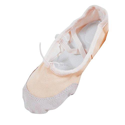 Transer Ladies& Girls Canvas Ballet Dance Shoes- Women Pointe Gymnastics Slippers Beige