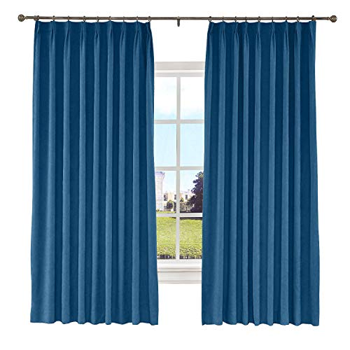 (Macochico 50W x 84L Inches Pinch Pleated Curtains with Blackout Lining Thermal Insulated Polyester Cotton Drapery Panel for Bedroom Windows Living Room Sliding Door,Blue (1 Panel))