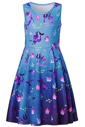 (Funnycokid Mermaid Dresses 6-7 Year Old Girls' Casual Sleeveless Sundress Summer Birthday Party Crystal Coral Dress)