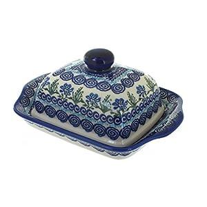 Blue Rose Polish Pottery Charleston Butter Dish