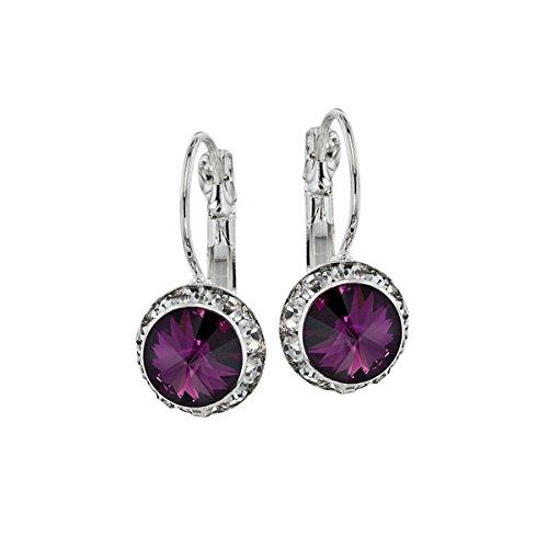 Euro Wire Earrings Styles By JS Swarovski Crystals Rondelle Birthstone Earrings (02- Amethyst Violet - (Swarovski Amethyst Earring)
