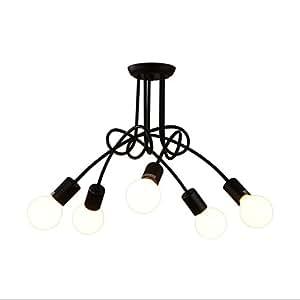 Nordic Bedroom Ceiling Lamp Irregular Wrought Iron Restaurant Lights Chandelier E27 Pearl Bulb, Black(3/5 Light) ( Size : 5 head )