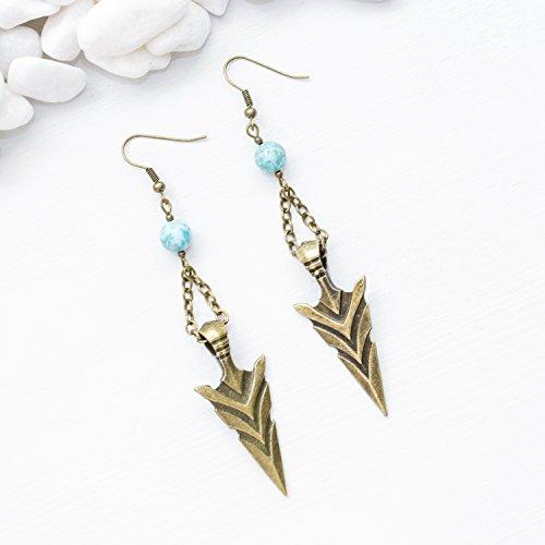 Arrowhead Earrings - Turquoise Gemstone Unique Native American Boho Chic Southwestern Jewelry - Handmade in Phoenix, - Phoenix Arrowhead