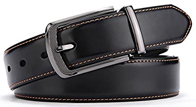 Men's Belt,Bulliant Leather Adjustable Belt for Men Dress Casual 1 3/8,Trim to Fit