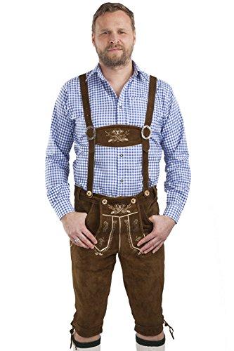 Herren Hopfen und Malz Lederhose Trachtenlederhose - Kniebundhose mit Hosenträgern braun - Original Trachten Lederhosen Oktoberfest Kniebund Hose (54, mittelbraun)