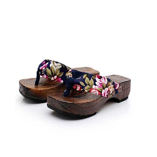 sandales bois en saboter bois Mode tongs femmes Transer ® Bleu plate forme wqxYzvCZ