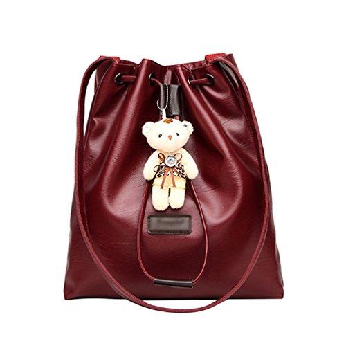 Dexinx Damen Elegant Leder Handtasche mit Bär Anhänger Casual Attraktiv Umhängetasche für Frau Weinrot AlO0pqF