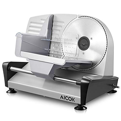 Meat Slicer Aicok Electric Food Slicer, 19cm Stainless Steel Blade for...