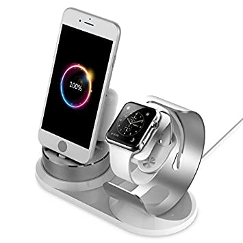 detailing cdd1f 89cb5 Airpods iWatch Stand for iPhone ,Aluminum 4 in 1 iWatch iPhone Docks Holder  for Apple Watch Series 1,Series 2 ,Series 3, Airpods,iPhone,5/5s, iPhone ...
