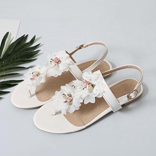 YE Damen Zehentrenner Flache Knöchelriemchen Sandalen mit Blumen und Schnalle Bequem Süß Schuhe Weiß