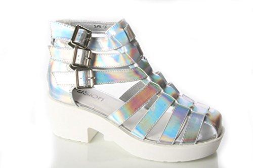 Señoras para mujer tiras en forma de Cut Out gladiador plataforma zapatos de verano Sandels Size3–