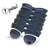 I Do Crew Cat Eye Bachelorette Sunglasses - 1 White 'I Do' and 6 Black 'I Do Crew' Retro Glasses - 7 Pack