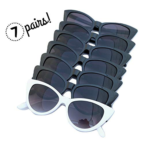 I Do Crew Cat Eye Bachelorette Sunglasses - 1 White 'I Do' and 6 Black 'I Do Crew' Retro Glasses - 7 Pack by Nebulove