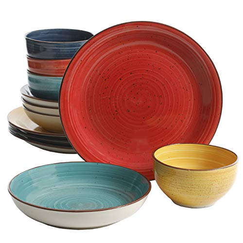 Gibson Home Color Speckle 12 Piece Mix and Match Double Bowl Set, Assorted Colors