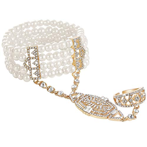 Coucoland 1920s Flapper Bracelet Ring Set Roaring 20s The Great Gatsby Austrian Crystals Imitation Pearl Bracelet Accessory (Gold)