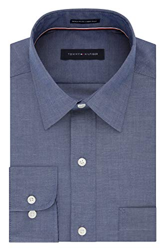 Tommy Hilfiger Men's Regular Fit Non Iron Solid Point Collar Dress Shirt, Night Blue, 17.5