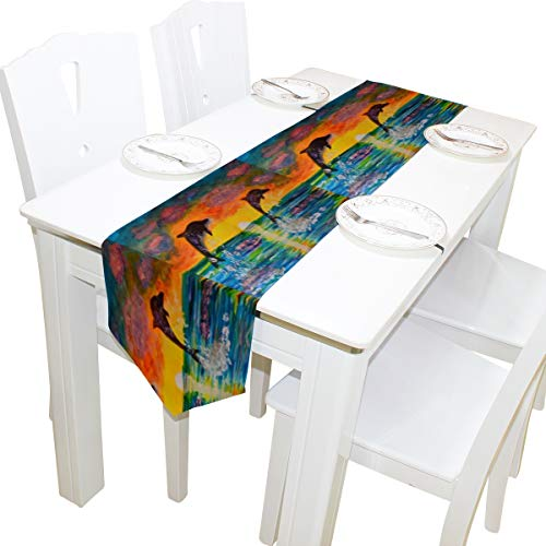 ALAZA Table Runner Home Decor,Fantasy Watercolor Ocean Sea Dolphin Sunset Polyester Table Runner Placemat for Wedding Party Coffee Table Mat Decoration 13 x 90 inches