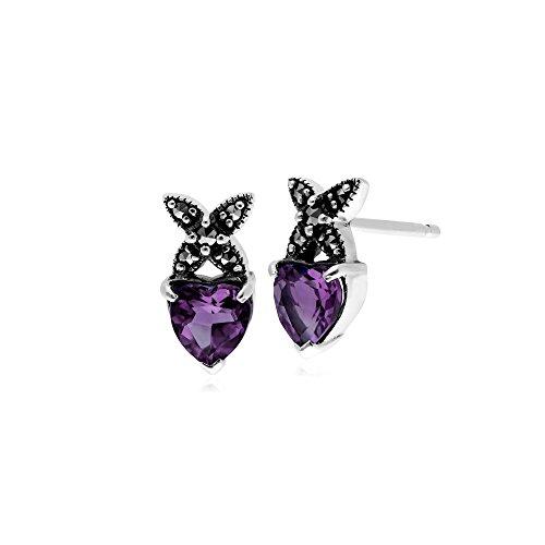 Gemondo Amethyst Earring, Sterling Silver Amethyst & Marcasite February Stud Earrings