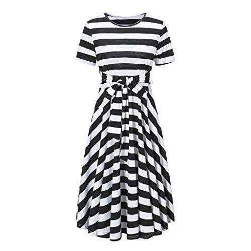 (Sttech1 Women's Short Sleeve Striped Print Bow Tie Dress Black)