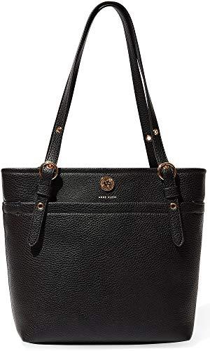 Anne Klein Women's Pocket Small Tote Black 2 One - Black Handbag Leather 2